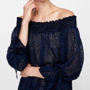 Zara Polka Dot Sheer Off the Shoulder Top- M
